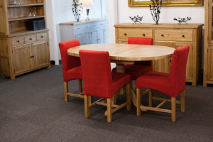 Manhattan Oak 1.2m - 1.5m Extendable Oval Table With 4 Red Low Back Chairs