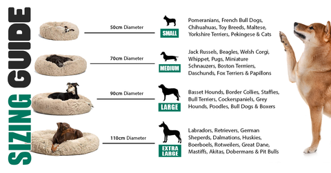 IREMIA Dog Bed Sizing Guide from Pets Planet | South Africa's No.1 ePet store for premium pet products like plush dog beds, fluffy dog beds, calming dog beds, dog collars, dog leashes & more