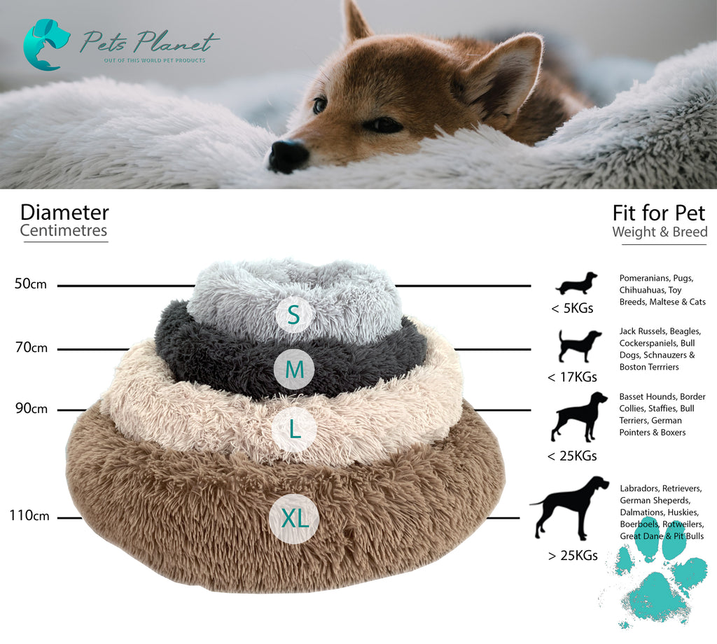 Iremia Dog Bed Sizing Guide from Pets Planet, South Africa's No.1 ePet Store - The Preferred Premium Ultra-Soft & Fluffy Dog Bed