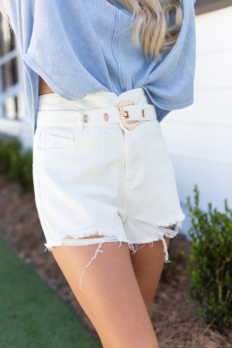 Buckle Up White Shorts