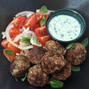 Minted Lamb and Bulgur Meatballs with Yogurt-Cucumber Dip