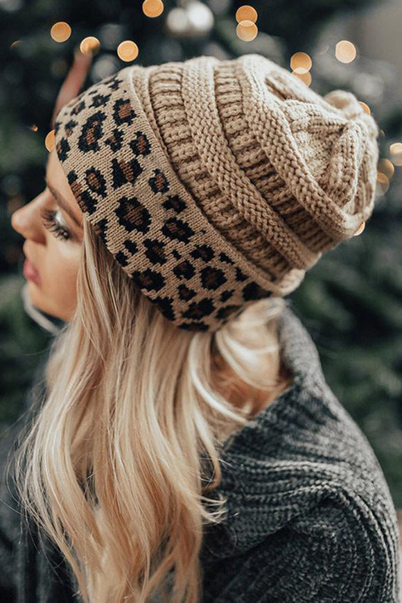 Apricot Knitted Leopard Beanie