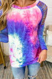 Blue Round Neck Tie-dye Hollow Out Long Sleeve Top