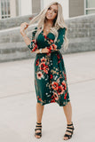 Green Floral print 3/4 Sleeve Wrap Dress