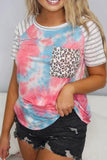 Crew Neck Tie-dye Stripe Print T-Shirt Leopard Patchwork Pocket Casual Short Sleeve