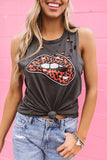 Leopard Lips Distressed Boyfriend Tank In Black