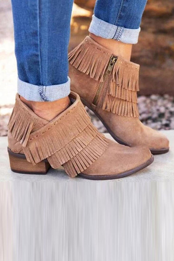 Khaki Low Heel Fringed Ankle Boots