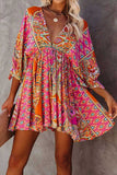 Multicolor V Neck 3/4 Sleeve Bohemian Vintage Print Mini babydoll dress