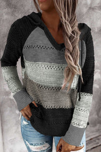 Black Beach Bonfire Knitted Hoodie