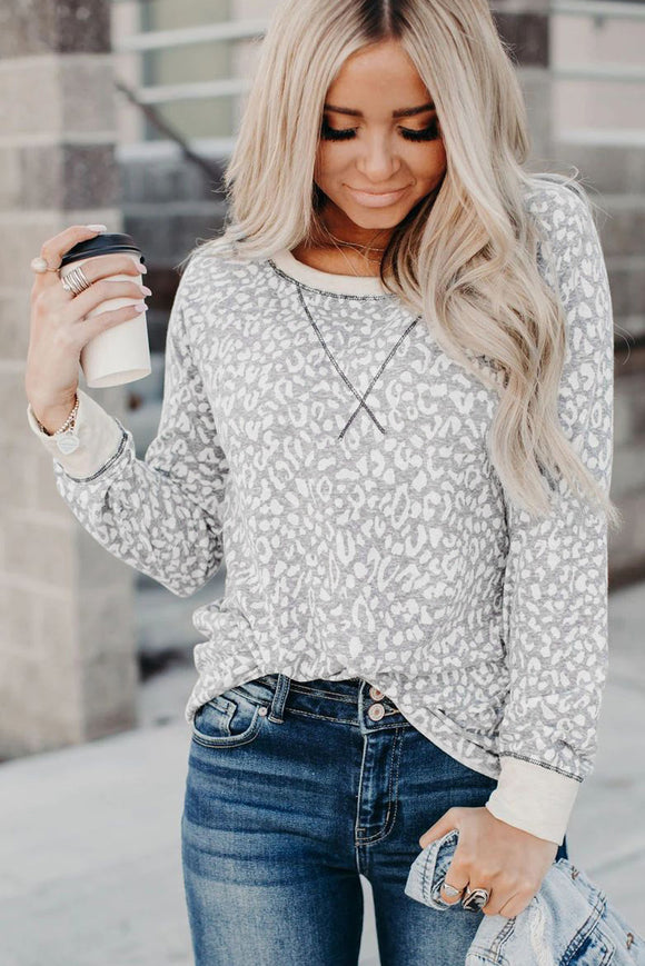 Gray Long Sleeve Leopard Print Top