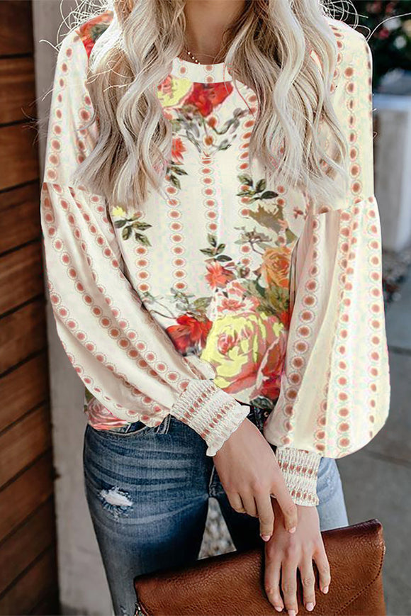 Apricot Crewneck Floral Printed Balloon Sleeves Blouse