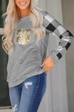 Gray Plaid print crew neck sequin pocket Top