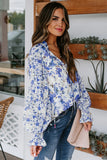 Blue Cakewalk Floral Smocked Blouse