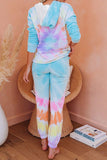 Multicolor Tie Dye Long Sleeve Knit Hooded loungewear