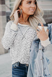 Gray Leopard Print Long Sleeve Round Neck Casual Top