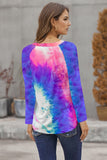 Casual Round Neck Tie-dye Hollow Out Long Sleeve Top