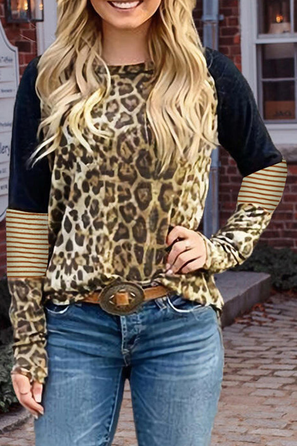Leopard Striped Splicing Long Sleeve Tee