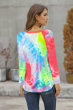 Round Neck Tie-dye Hollow Out Long sleeve top