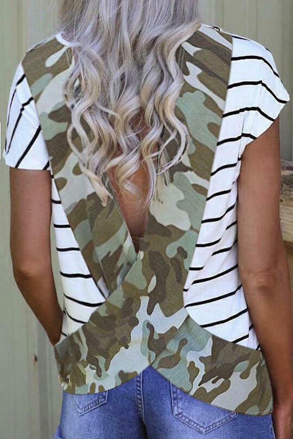 Stripe Green Camo Printed Open Back Short Sleeve T Shirt