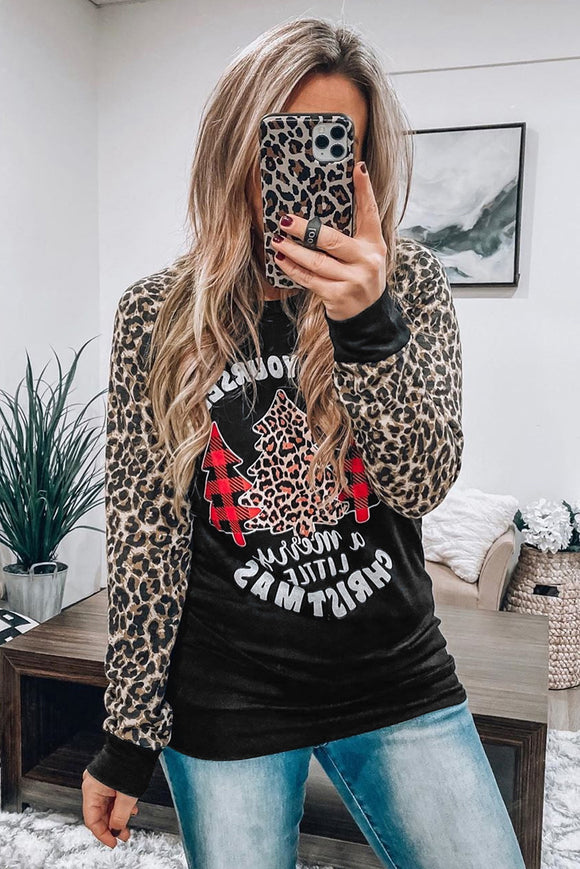 Black Leopard Sleeves Christmas Tree Print Top