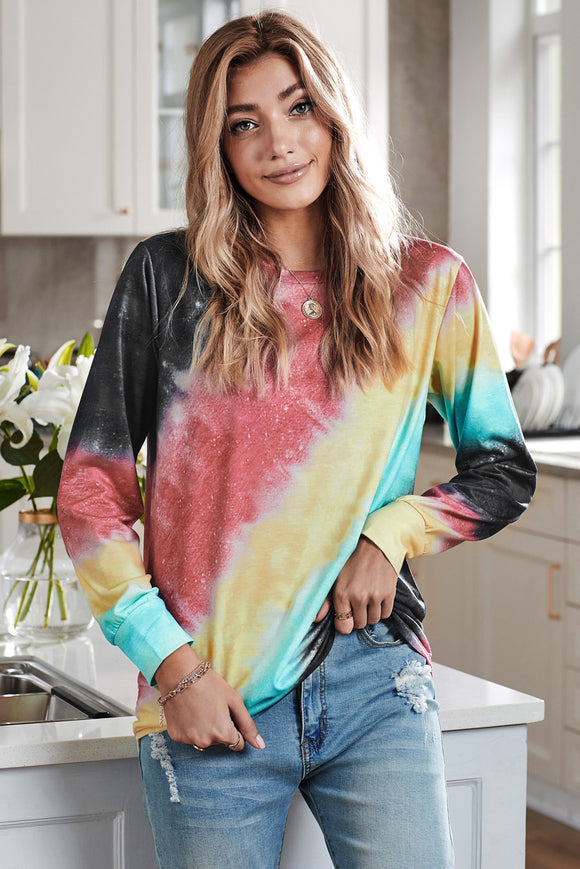 Ombre Red Tie-dye Long Sleeve Top