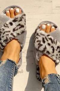 Gray Fluffy Leopard Crisscross Peep Toe Slippers
