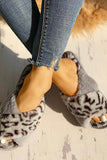 Fluffy Leopard Crisscross Peep Toe Slippers Black gray