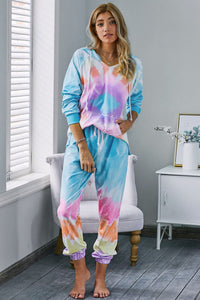 Multicolor Utopia Cotton Blend Tie Dye Hoodie Joggers Loungewear