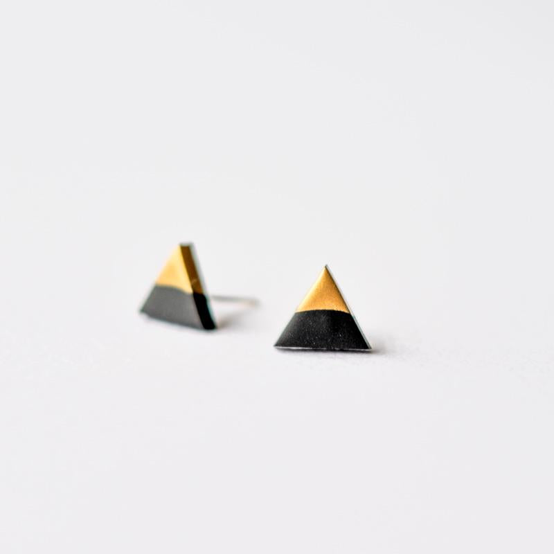 Black Rose Gold Dipped Triangle Stud Earrings