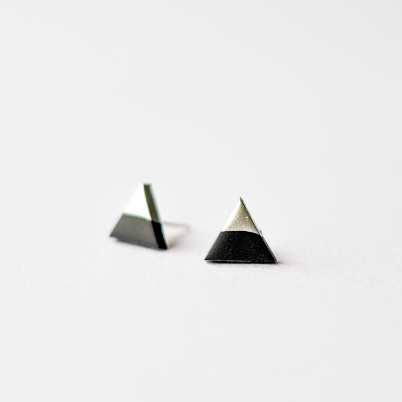 Black Silver Dipped Triangle Stud Earrings