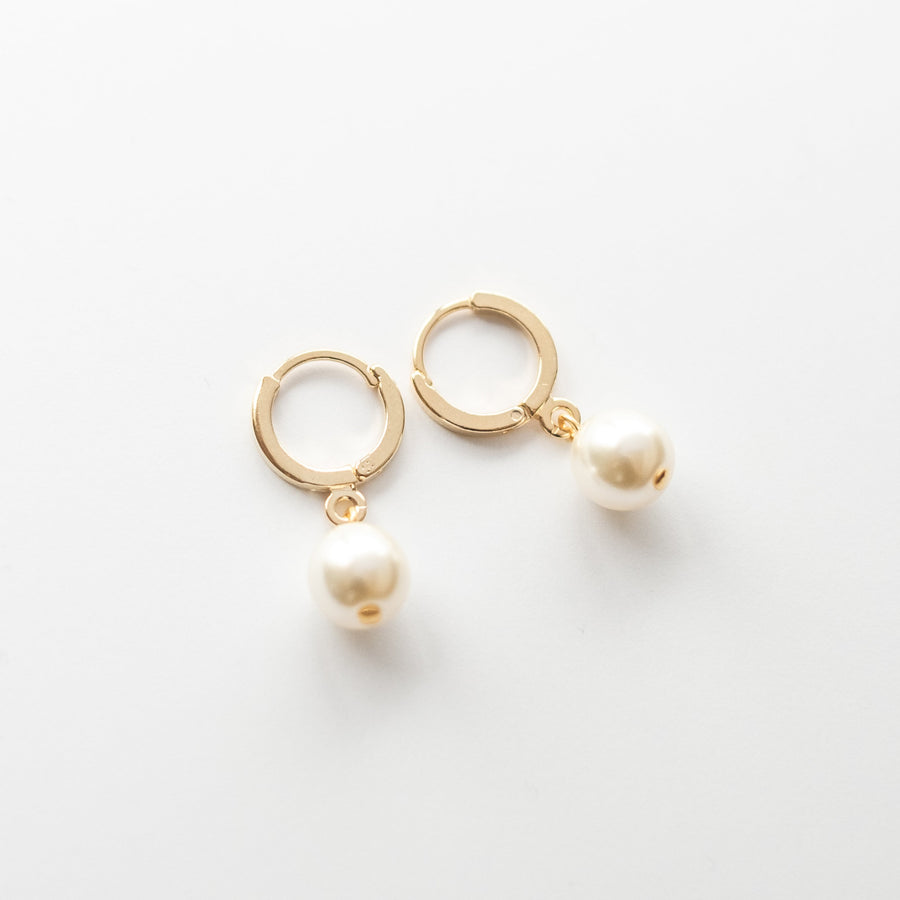 Gold Pearl Huggie Hoop Earrings