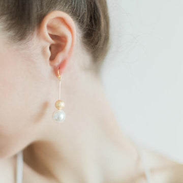 Gold Bead and Pearl Earrings
