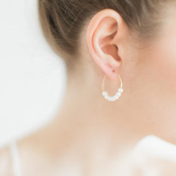 Gold Circle Hoop Earrings with White Pearls