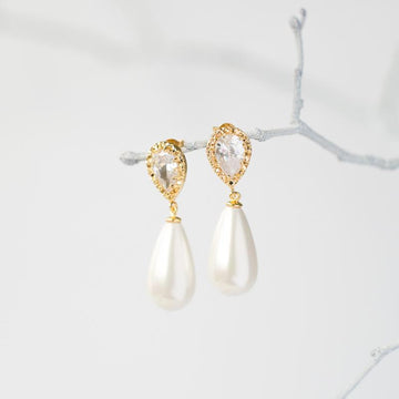Gold Crystal Pearl Drop Earrings