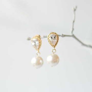 Gold Crystal Pearl Earrings