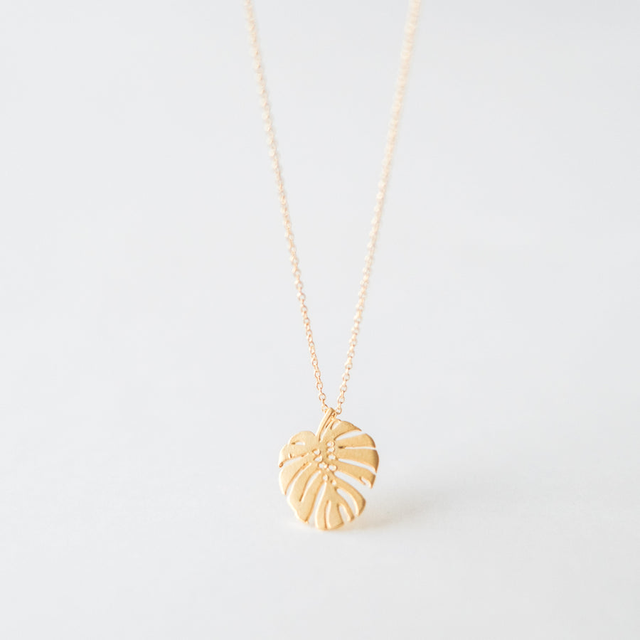 Gold Monstera Necklace