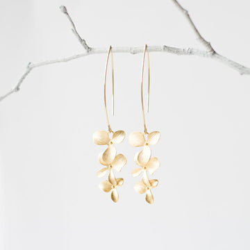 Gold Orchid Flower Earrings