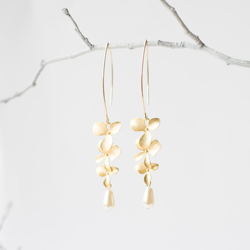 Gold Orchid Flower Earrings with Pearls