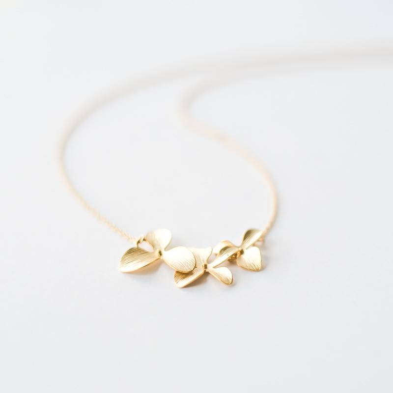 Gold Orchid Flower Necklace