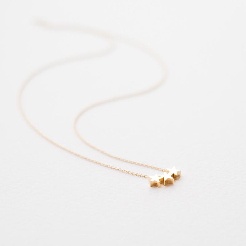 Gold Three Stars Necklace