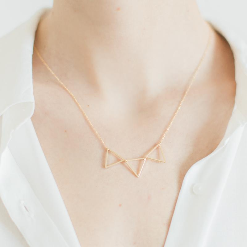 Gold Three Triangles Necklace