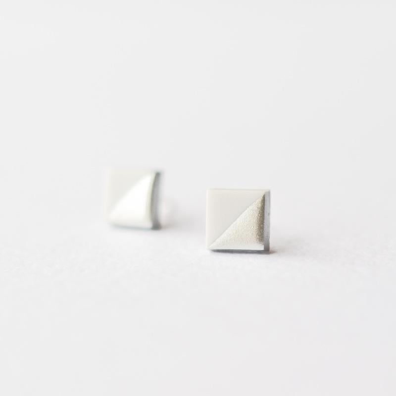 Grey Silver Dipped Square Stud Earrings