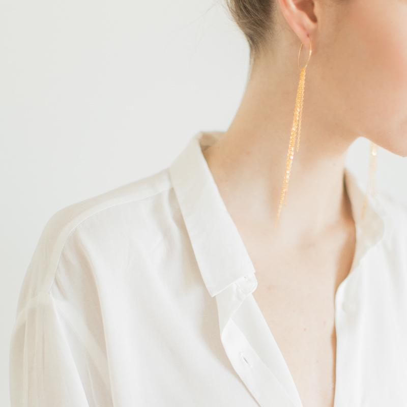 Long Chain Hoop Earrings