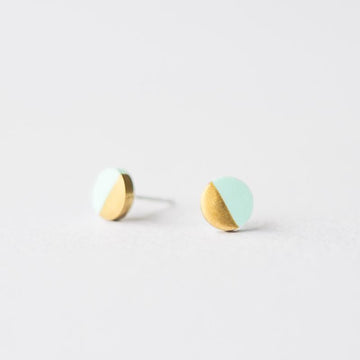 Mint Gold Dipped Circle Earrings