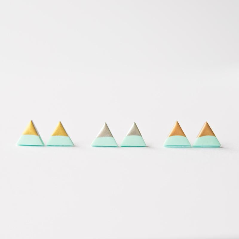 Mint Rose Gold Triangle Earrings