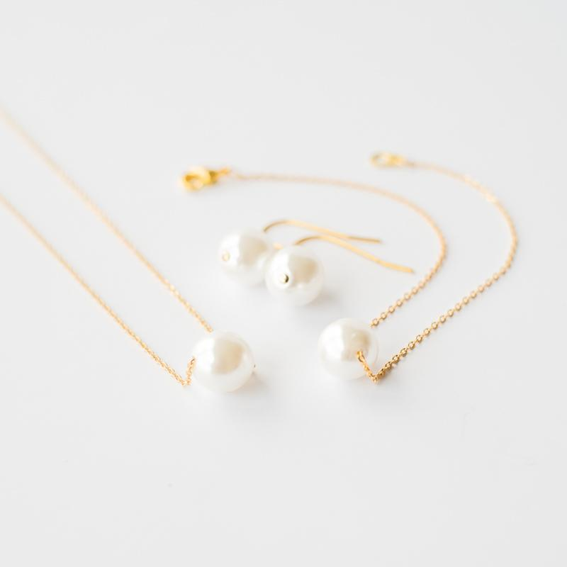 Pearl Jewelry Set in Gold