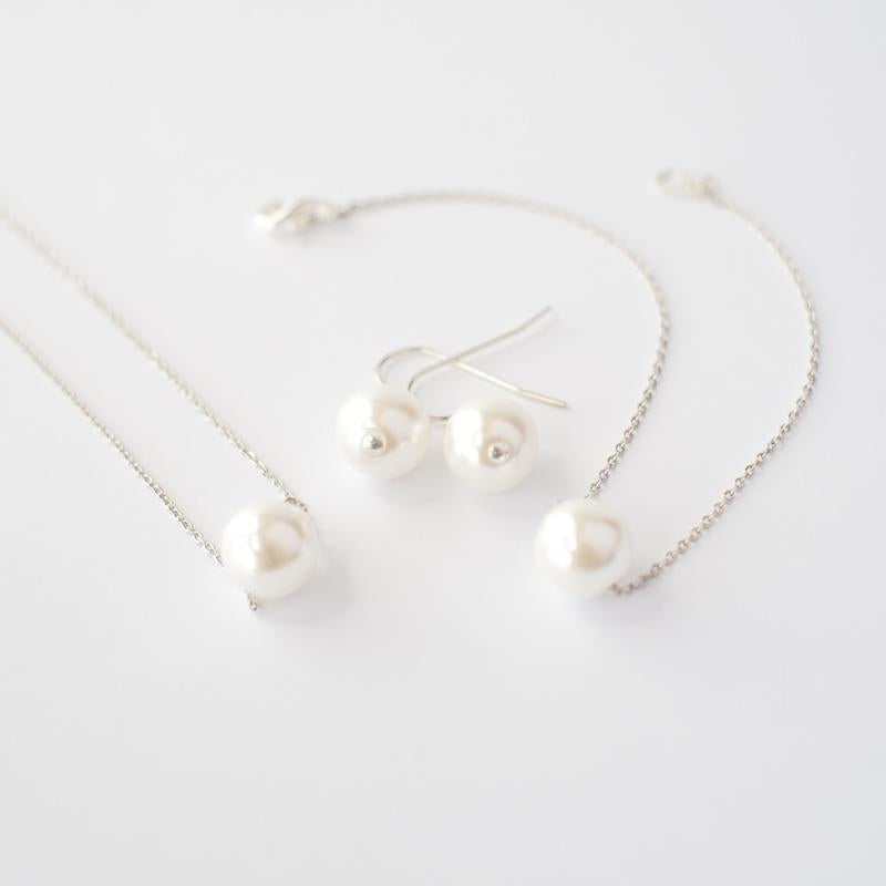 Pearl Jewelry Set in Silver