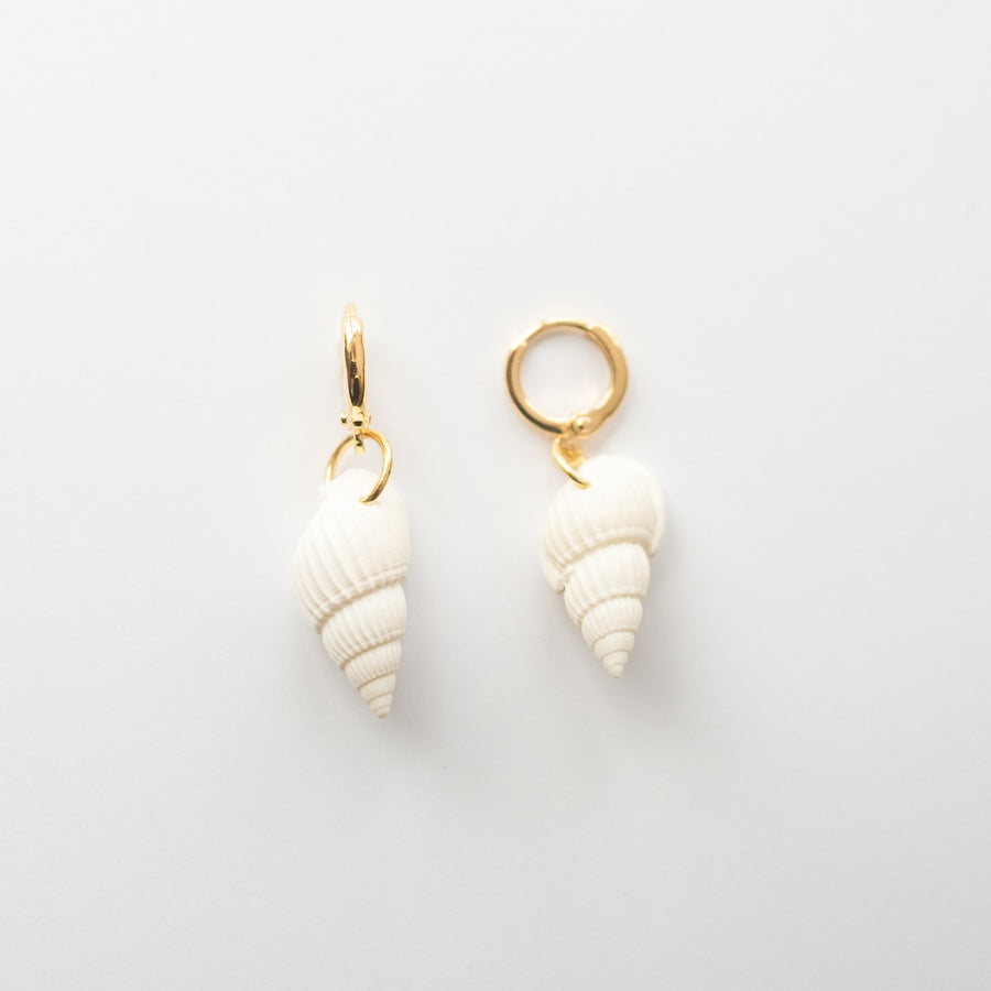 Seashell Huggie Hoop Earrings