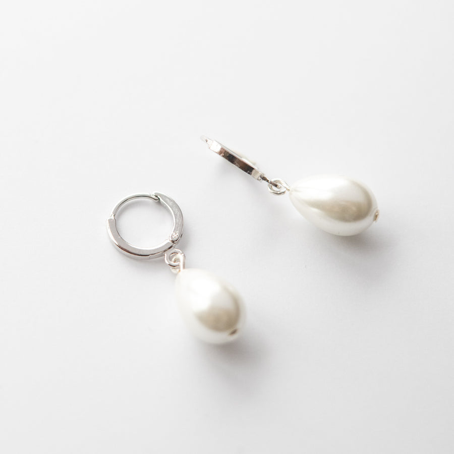 Silver Pearl Huggie Hoop Earrings