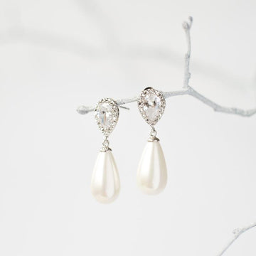 Silver Crystal Pearl Drop Earrings